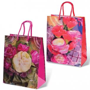 Пакет подарочный ламинированный, 18x23x10 см, цветы ассорти, шк7431