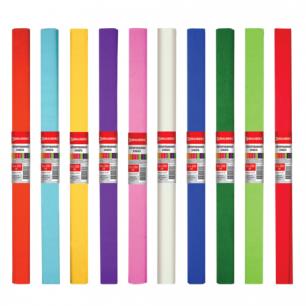 Цветная бумага КРЕПИРОВАННАЯ BRAUBERG, АССОРТИ 10 цветов, ПЛОТНАЯ, растяжение до 45%, 50*250см, 127151