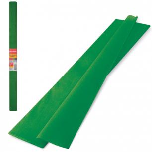 Цветная бумага КРЕПИРОВАННАЯ BRAUBERG, ПЛОТНАЯ, растяжение до 45%, 32г/м, рулон, т-зел, 50*250см, 126537