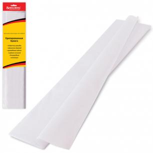 Цветная бумага КРЕПИРОВАННАЯ BRAUBERG, растяжение до 65%, 25г/м, европодвес, белая, 50*200см, 124732