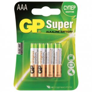 Батарейки GP (Джи-Пи)  Alkaline AAA (LR03, 24А), КОМПЛЕКТ 4шт., в блистере, 1.5В