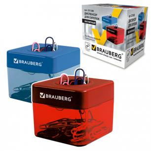 Скрепочница магнитная BRAUBERG с 20 скрепками, ассорти, 221280