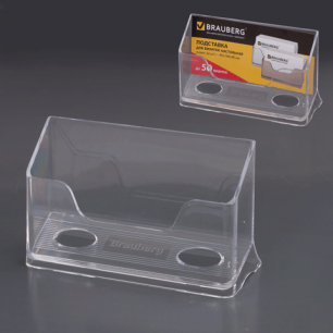 Подставка для визиток настольная BRAUBERG-CONTRACT, на 50 визиток, 100*40*65мм, прозрачная, 232287