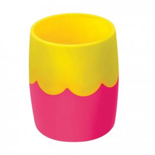 Подставка-органайзер СТАММ (стакан для ручек), розово-желтая непрозрачная, СН502
