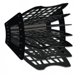 Лоток для бумаг BRAUBERG-SMART, 7-ми секционный, сетчатый, черный, 231143