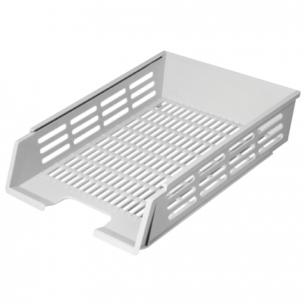 Лоток горизонтальный для бумаг СТАММ с пазами, сетчатый, серый, ЛТ75