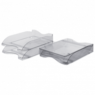 """Лотки горизонтальные для бумаг СТАММ, НАБОР 2шт., """"Люкс"""", тонированные серые, ЛТ602"""