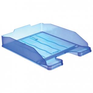 """Лоток горизонтальный для бумаг СТАММ """"Эксперт"""", тонированный голубой, ЛТ204"""