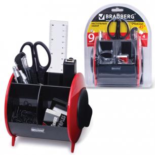 Канцелярский набор BRAUBERG 9 предм, вертикальная вращающаяся конструкция, чер/крас, блистер, 231927