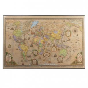 Коврик-подкладка настольный для письма с картой мира ретро, (380*590 мм), ДПС, 2129.С