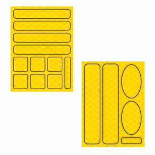 Наклейки СВЕТООТРАЖАЮЩИЕ для велосипедов, 150х92мм, желтые, ш/к 40195