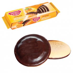 """Печенье ЯШКИНО """"Апельсин"""", сдобное, с бисквитом, джемом и шоколадной глазурью, 137г, ш/к 35760"""
