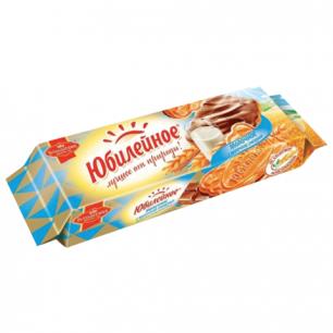 Печенье ЮБИЛЕЙНОЕ молочное с шоколадной глазурью, 116г, ш/к 53853