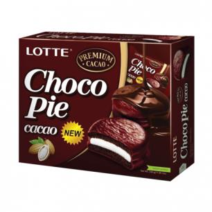 """Печенье LOTTE """"Choco Pie Cacao"""" (Чоко Пай Какао), глазир., картон.упак., 336г, (12шт х 28г), ш/к40645"""