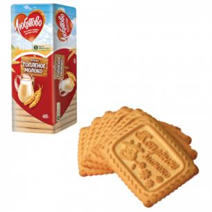 """Печенье ЛЮБЯТОВО """"Топленое молоко"""", сахарное, 400г, в спайке, 13028"""