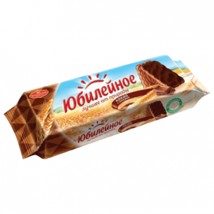 Печенье ЮБИЛЕЙНОЕ с какао и шоколадной глазурью, 116г, ш/к 59206