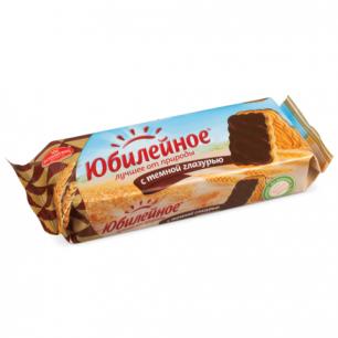 Печенье ЮБИЛЕЙНОЕ с шоколадной глазурью, 116г, 3860