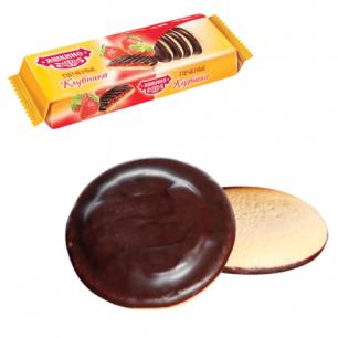 """Печенье ЯШКИНО """"Клубника"""", сдобное, с бисквитом, джемом и шоколадной глазурью, 137г, ш/к 35784"""