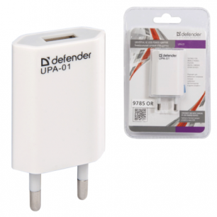 Зарядное устройство сетевое (220В)  DEFENDER UPA-01, 1 порт USB, вых.ток. 1А, бел., блистер 83509