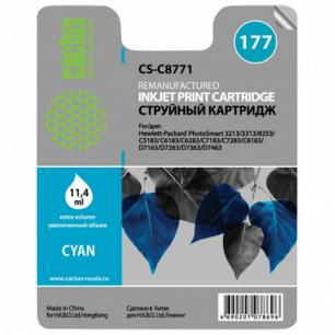 Картридж струйный HP (C8771HE)  Photosmart C7283/C8183, №177, голубой, 11,4мл, CACTUS СОВМЕСТИМЫЙ
