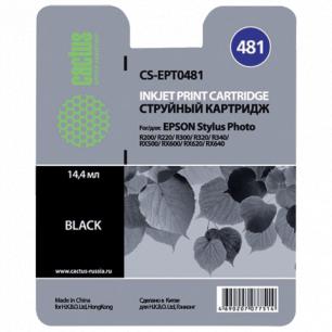 Картридж струйный EPSON (T048140)  Stylus Photo R200/R300/RX500 и др черный CACTUS СОВМЕСТИМЫЙ