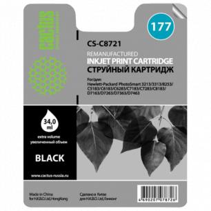 Картридж струйный HP (C8721HE)  Photosmart C7283/C8183, №177, черный, 34мл, CACTUS СОВМЕСТИМЫЙ