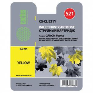 Картридж струйный CANON (CLI-521Y)   Pixma MP540/630/980, желтый CACTUS СОВМЕСТИМЫЙ