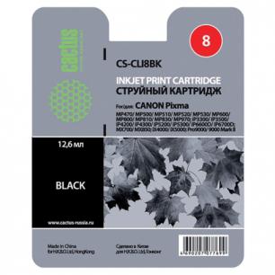 Картридж струйный CANON (CLI-8Bk)  Pixma iP4200/4300/4500/5200/5300, черный CACTUS СОВМЕСТИМЫЙ