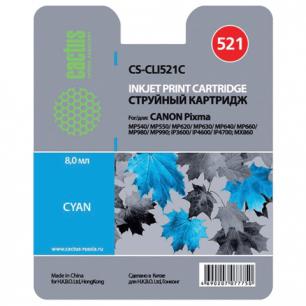 Картридж струйный CANON (CLI-521С)   Pixma MP540/630/980, голубой CACTUS СОВМЕСТИМЫЙ
