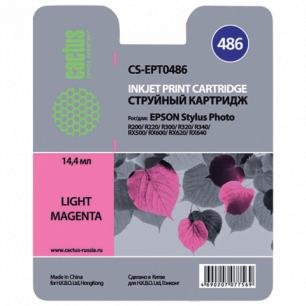 Картридж струйный EPSON (T048640)  Stylus Photo R200/R300/RX500 и др св.пурпурный CACTUS СОВМЕСТИМЫЙ