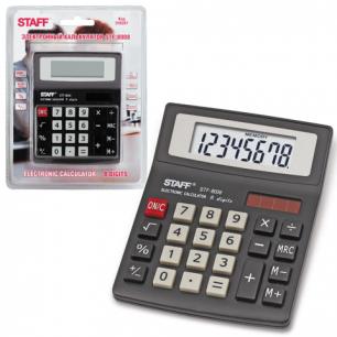 Калькулятор STAFF настольный STF-8008, 8 разрядов, двойное питание, 113х87мм, НА БЛИСТЕРЕ