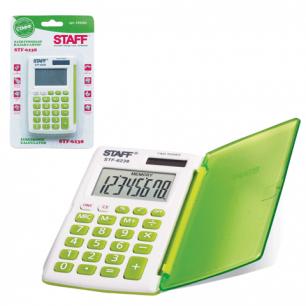 Калькулятор STAFF карманный STF-6238 ЗЕЛЕНЫЙ, 8 разрядов, двойное питание, 104х63мм, НА БЛИСТЕРЕ