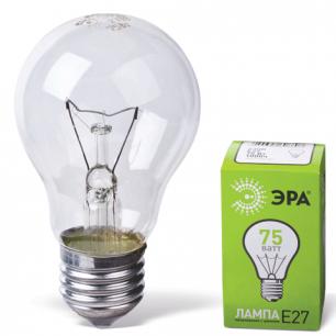 Лампа накаливания ЭРА 75Вт, грушевидная, прозрачная, колба d=60мм, цоколь Е27, А55-75-230-E27-CL