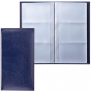 """Визитница трехрядная BRAUBERG """"Imperial"""", под гладкую кожу, на 144 визитки, темно-синяя, 232064"""
