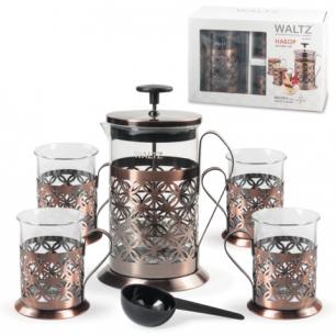 Набор WALTZ (ВАЛЬЦ)  френч-пресс 800 мл + 4 стакана 200 мл, жаропрочное стекло/нержав.сталь, 601531