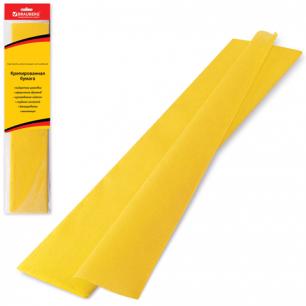 Цветная бумага КРЕПИРОВАННАЯ BRAUBERG, растяжение до 65%, 25г/м, европодвес, желтая, 50*200см, 124728
