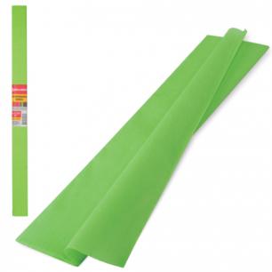 Цветная бумага КРЕПИРОВАННАЯ BRAUBERG, ПЛОТНАЯ, растяжение до 45%, 32г/м, рулон, с-зел, 50*250см, 126536