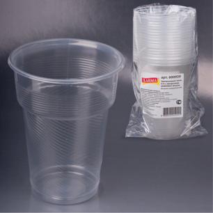 Одноразовые стаканы ЛАЙМА Бюджет, КОМПЛЕКТ 20шт., пластиковые 0,5л, прозрачные, ПП, хол/гор, 600939
