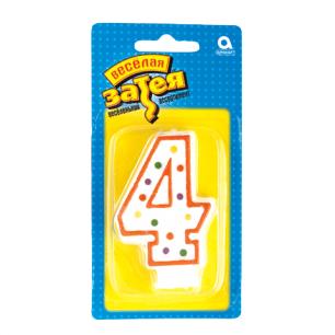 """Праздничная свеча цифра """"4"""" высотой 7,6см, 1502-0143/1502-1018"""