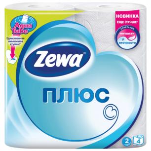 Бумага туалетная ZEWA Plus, 2-х слойная, спайка 4шт.х23м, белая, 144051, ш/к 03308
