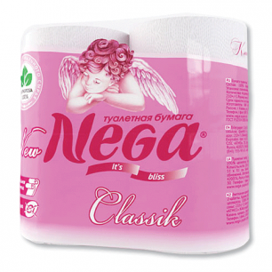 Бумага туалетная NEGA Classic (Нега), 2-х слойная, спайка 4шт.х19м, белая, ш/к 00359