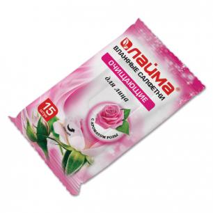 Салфетки влажные ЛАЙМА 15шт., очищающие для лица, с ароматом розы, 125958