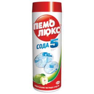 """Чистящее средство ПЕМОЛЮКС 480г, Сода-5 """"Яблоко"""", порошок, ш/к 80777"""