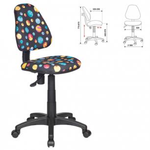 """Кресло детское KD-4/PLANETY без подлокотников, черное с рисунком """"планеты"""", ш/к 56243"""