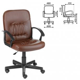 """Кресло оператора """"Чип"""" с подлокотниками, кожзам, коричневое, ш/к 12466"""