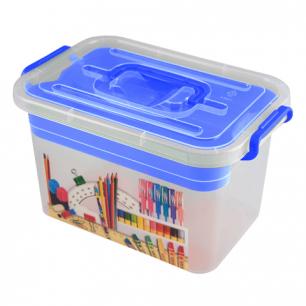 """Ящик для хранения мелочей """"Школа"""", 6,5л, (в18*ш31*г20см), пластик, с дополн. вкладышем, син, 4380902"""