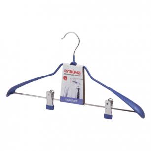 "Вешалка-плечики ЛАЙМА ""Стандарт"", с клипсами для брюк, металл/ПВХ, 45см, цвет синий, 601168"