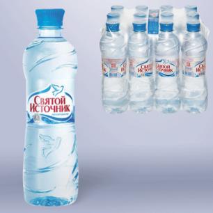 """Вода негазированная питьевая """"Святой источник"""", 0,5л, пластиковая бут., ш/к 00786"""