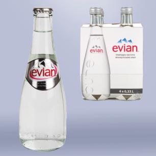 Вода негазированная минеральная EVIAN (Эвиан)  0,33л, стеклянная бутылка, ш/к 03686