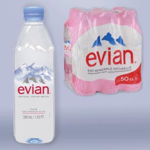Вода негазированная минеральная EVIAN (Эвиан)  0,5л, пластиковая бутылка, ш/к 55008